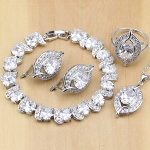 Naturalne 925 Sterling Silver biżuteria dla nowożeńców biały cyrkon zestawy biżuterii dla kobiet kolczyki ślubne naszyjnik pierścionki bransoletka