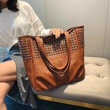 Fashion Rivet Shoulder Bags For Women Leather Luxury Handbags Women Bag