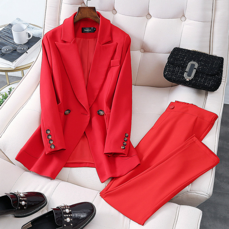 Women's Suits Large Size Solid Color Double-breasted Professional Western-style Trousers 2019 New Autumn Women's Two-piece Suit