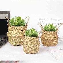 Mesa de trabalho seagrass planta flor cesta caneta caixa de papelaria balde de armazenamento tecido vime jardim pote caneta titular multi-funcional