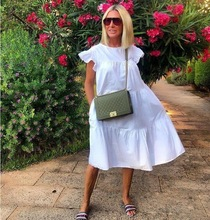 Women Vintage Floral Print Loose Dress 2020 Summer O-Neck Petal Short Sleeve Dress Elegant Casual Party Dress 3XL Vestido