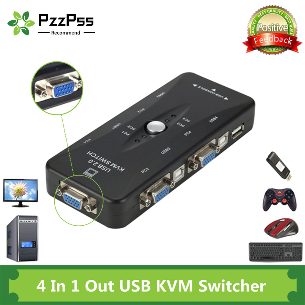 PzzPss 4 Port KVM Switch USB 2.0 VGA Splitter Printer Mouse Keyboard Pendrive Share Switcher 1920*1440 VGA Switch Box Adapter
