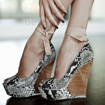 BERZIMER Snake Print Women Heels Platform Wedge Height Increasing Pumps Peep Toe Summer Zapatos Party Shoes Woman Size 44 50 52