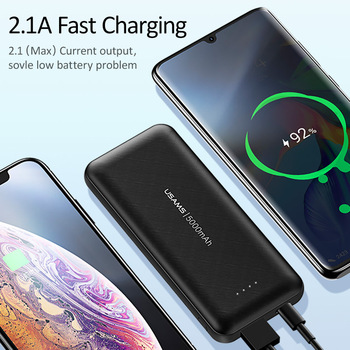USAMS 5000mAh Mini Power Bank Portable Charger Dual input Fast Charging Powerbank for Xiaomi iPhone External Battery Poverbank image