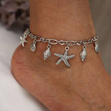 Ocean Anklet Silver Star Fish Conch Sea Snail (China)