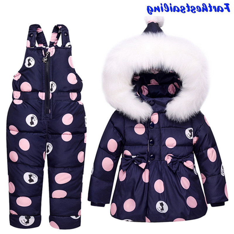 Baby Boy Girl Winter Warm Snowsuits Jacket Coat+Pant Outfit Set Clothes White