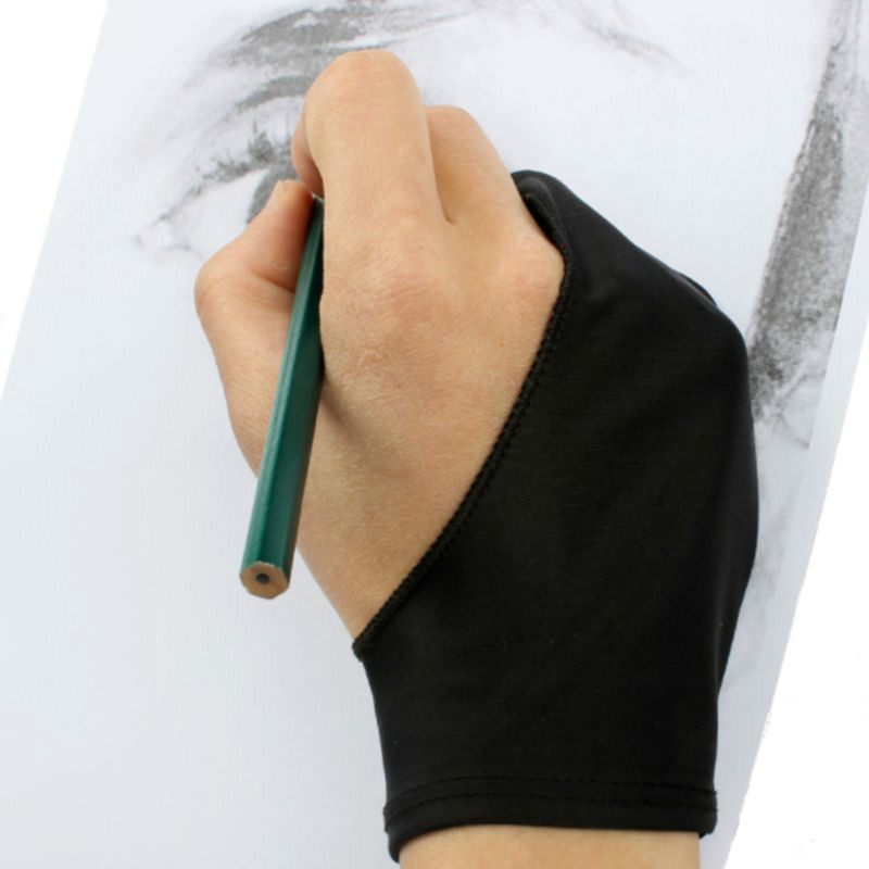 Coslony 1Pc Two-Finger Painting Glove For Graphics Drawing Table Sketching Artists Anti-Fouling Stretchable Mittens Free Size