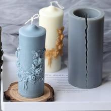 Blume Geschnitzte Zylindrischen Kerze Form Duft Kerze, Der Hand-made Diy Harz Lehm Seife Schokolade Fondant Mold Home Decor