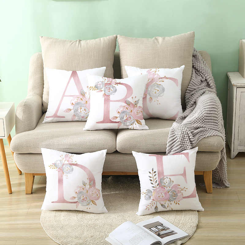 ins Pink Pillow Cases  letter Cotton Pillow Case BedroomHome Office Decorative