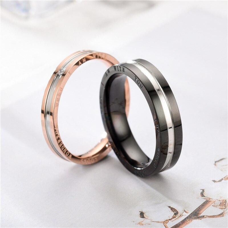 Alliage argent anneau bijoux accessoires bague de fiançailles anneaux pour amoureux en acier inoxydable anneau Simple et élégant Couple anneaux - 4