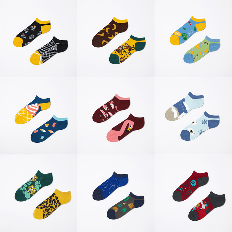 New Harajuku Spring Summer Funny Women Cotton Socks Couple Winter AB Boat Cute Kawaii Creative Fashion Korean Gifts For Men Sock