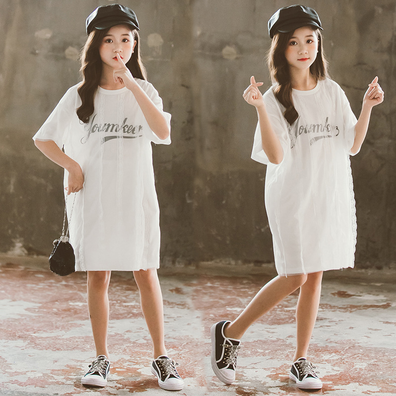 2020 New Arrival Summer Gils Clothes Teen Girls Letter Printed Casual Dress Cute Kids Girls Lace Dress Princess Dress, #8803