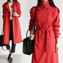 European Trench Coat Womens Spring Autumn Windbreaker Long Woman Temperament Lady Street Moda Feminina Red Green