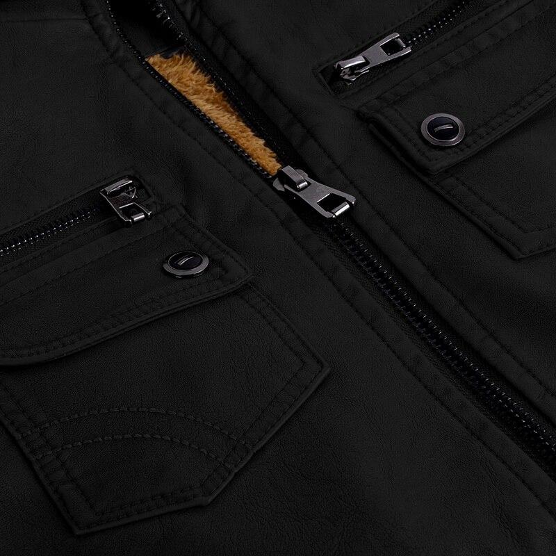 H157663afc8d84fb68d8036285d8d1ea9M Luxury 2019 Leather Jackets Men Autumn Fleece Zipper Chaqueta Cuero Hombre Pockets Moto Jaqueta Masculino Couro Slim Warm Coat