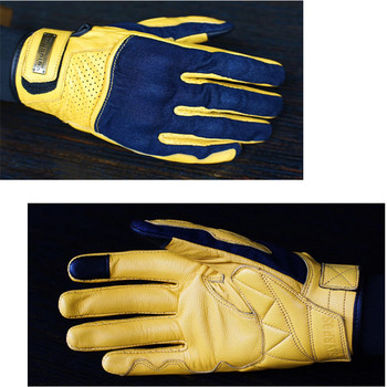 uglyBROS touch screen gloves denim with leather motorcycle gloves racing gloves Motocross gloves Unisex moto gloves