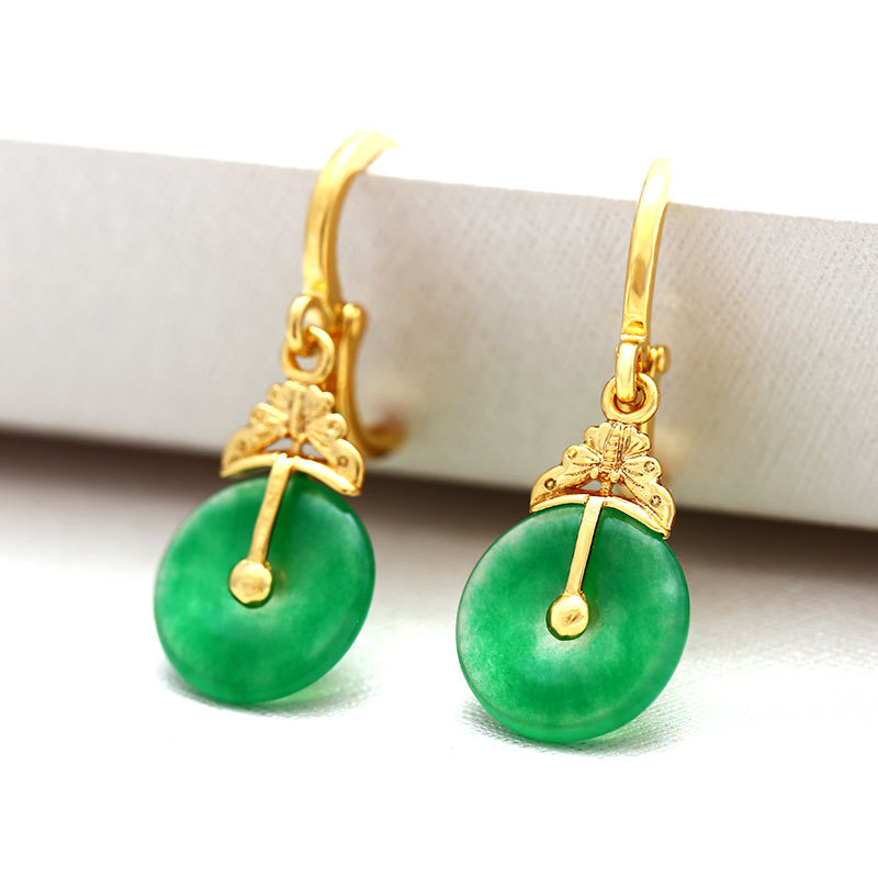 Vintage gilded fashion elegant ladies earrings Chinese style green round Malay jade
