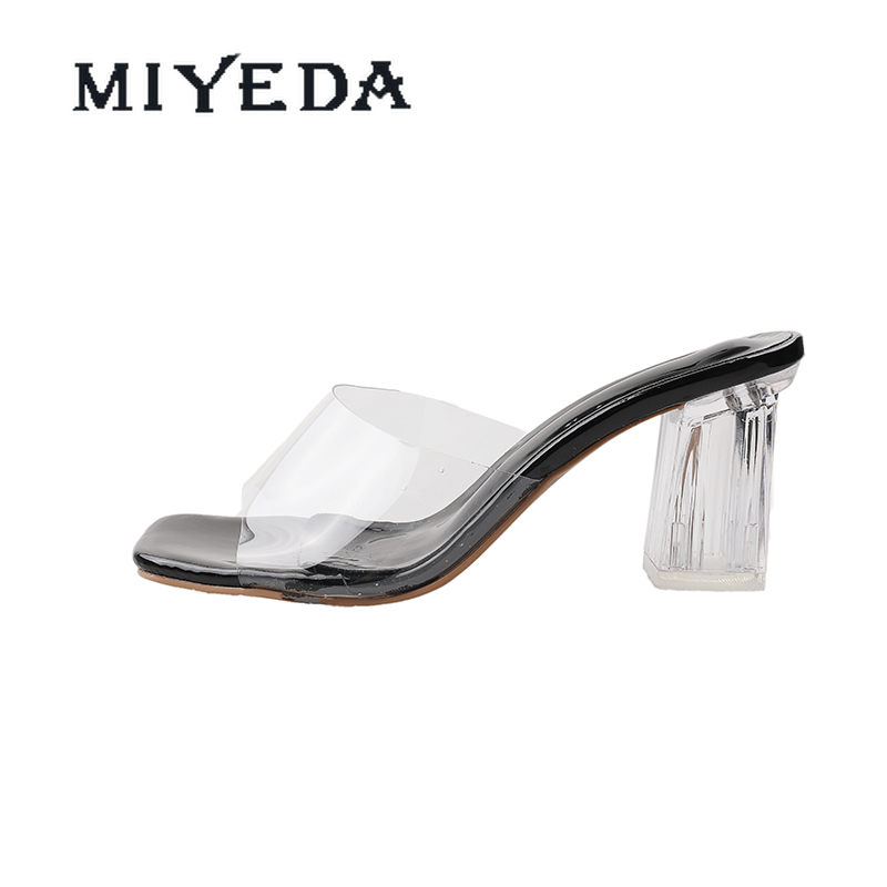 MIYEDA Transparent Sandals Heels Crystal Sexy Mixed Color Modern Slippers Hollow Out Summer Open Toe Office Lady Shoes