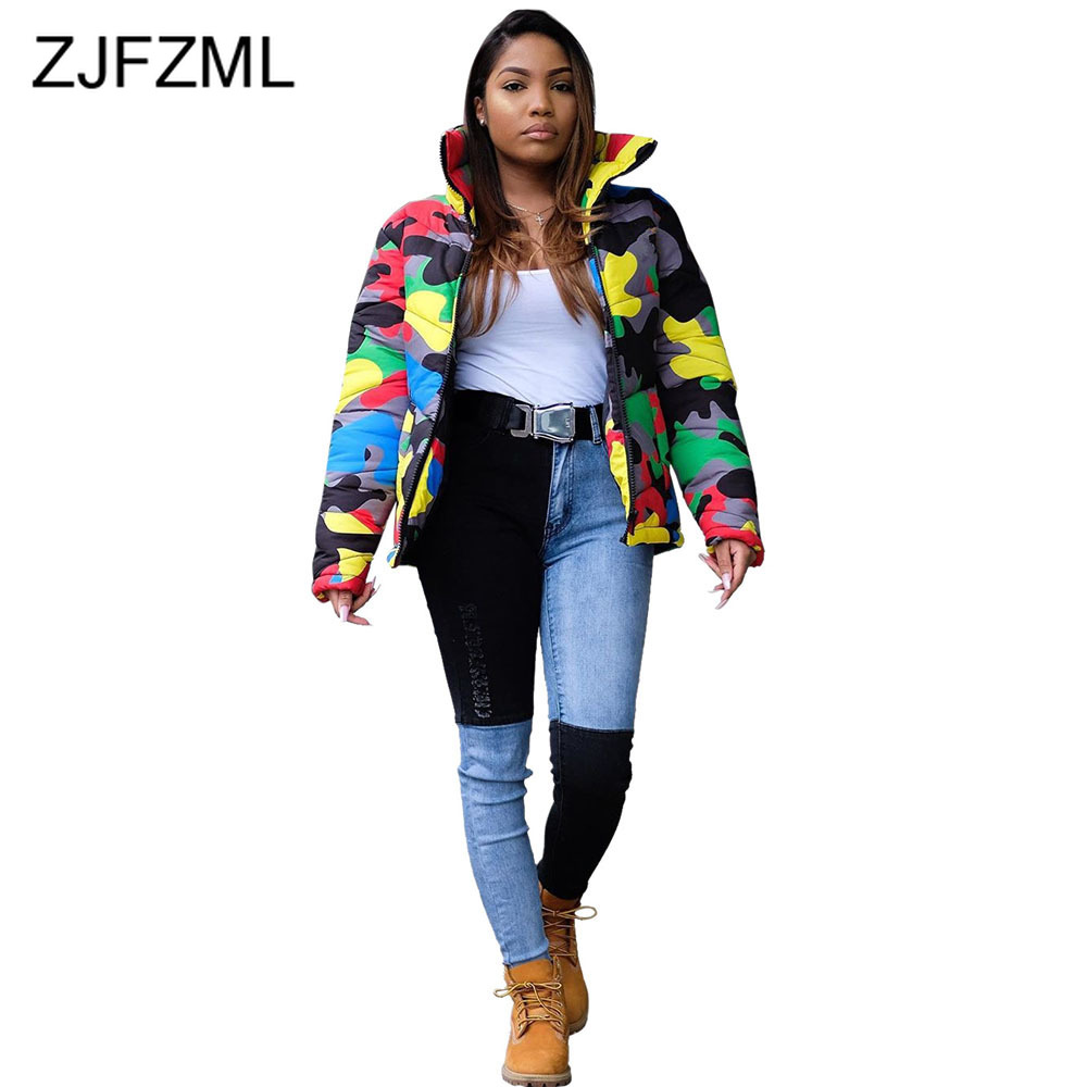 Colorful Camouflage Print Plus Size Parkas Women Stand Collar Long Sleeve Outerwear Autumn Winter Front Zipper Down Coat Jackets