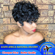Short Human Hair Wig Curly Wave Lace Wig
