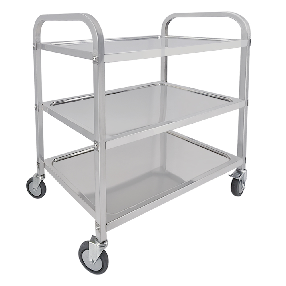 3 Tier Stainless Steel Trolley 4 Model Hotel Catering Serving Trolley Kitchen Trolley Cart Restaurant Rolling Utility Cart Shelf