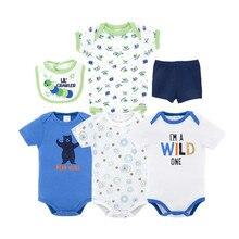 Honeyzone/комплекты одежды для маленьких мальчиков; боди из хлопка для маленьких девочек; детская одежда с короткими рукавами и рисунком