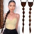 Черные прямые волосы пузырьковый хвост Синтетический зажим на шнурке пузырьковый фонарик форма конский хвост наращивание волос