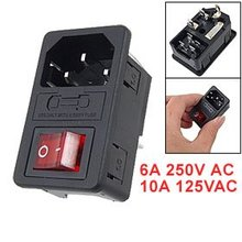 SODIAL(R) Inlet Male Power Socket with Fuse Switch 10A 250V 3 Pin IEC320 C14 black iec320 c14 inlet module plug switch male power socket w 2 pin switch