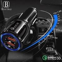 Cargador de coche QC3.0 con 2 USB, adaptador de carga rápida automática para iPhone 11 Pro, Xs, X, 8, Samsung S8, S9, S10, 20, 3A