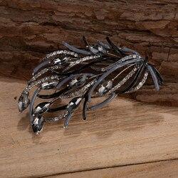 Luxury Crystal Flower Brooch Silver Plated Metal Big Rhinestone Women Crystal Enamel Brooches Flowers Pin Jewelry