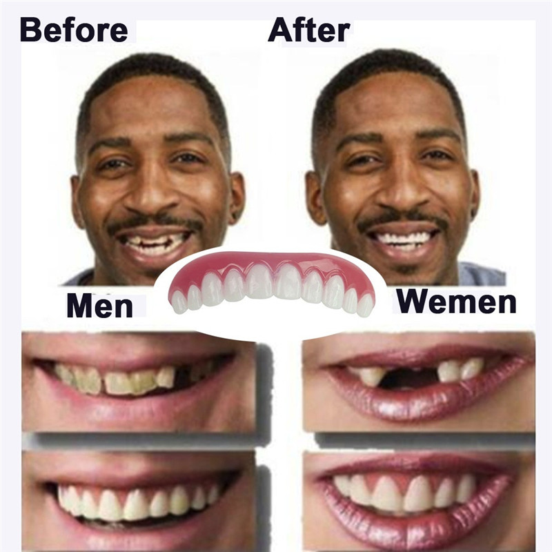 Veneers Flex Denture Perfect Fit Paste Tools 1PC Upper Row Of White Teeth Set Silicone Simulation On The Row Dentures Set