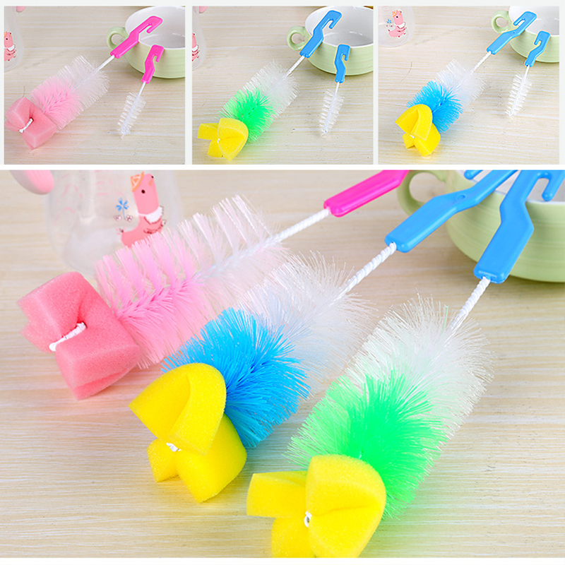 Systematic 2pcs 360°sponge Cleaner Baby Nipple Bottle Brush Cleaner Nipple Glass Feeding Bottle Sponge Brush Pacifier Brush Nylon Plastic