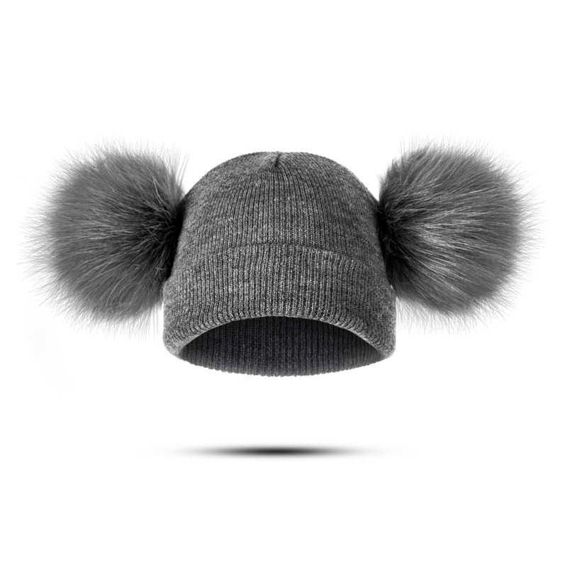 YEABIU น่ารัก Poms ฤดูหนาว WARM หมวกเด็กถักผ้าฝ้ายเด็กหมวกหมวกฤดูหนาวหมวกเด็กหนาเด็กหมวกขายส่ง