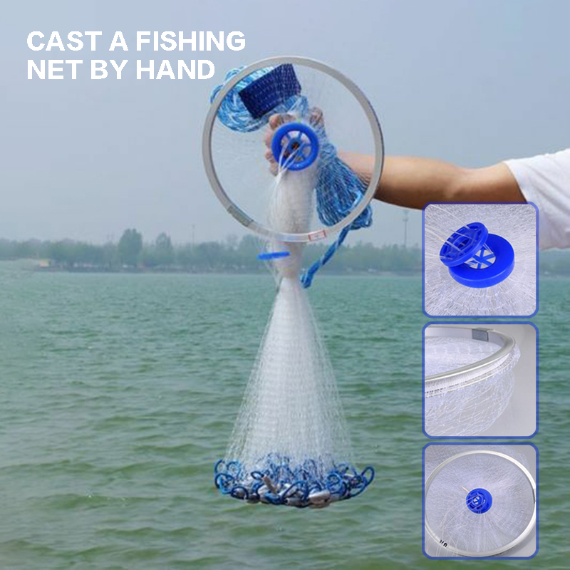 2.4m lancer la pêche en Nylon filet Monofilament Spin appât Sinker maille Style américain lancer la main filet de pêche