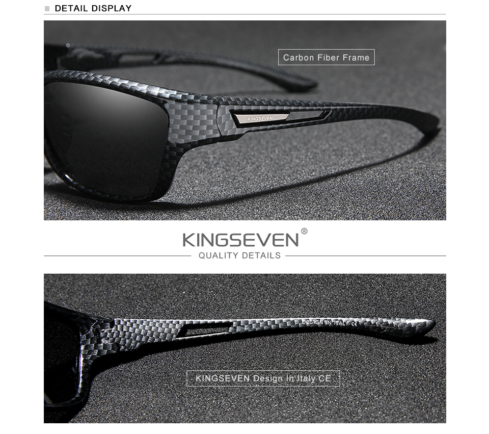 KINGSEVEN Ultralight Frame Polarized Sunglasses Men Fashion New Sports Style Square Sun Glasses Male Outdoor Travel UV Goggles