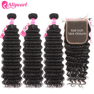 Deep Wave Human Hair Bundles With Closure 6x6 Free Part Pre Plucked Brazilian Bundles With Closure Remy Hair Extension AliPearl(China)