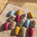 1 Pc 3D Acrylic Engraved Bohemia Totem Adhesive Nail stickers Embossed Colorful Water Slide Decals Nail Art Decoration MJ01