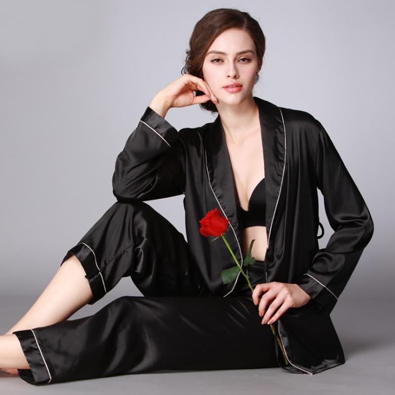 Yao Ting Hot Selling Silk Women's Pajamas Summer Silk Pajamas Long Sleeve Tracksuit Two-Piece Set Wechat Business