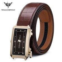 WilliamPolo volle korn leder Marke Gürtel Männer Top Qualität Echtes Luxus Leder Gürtel für Männer Strap Männlichen Metall Automatische schnalle
