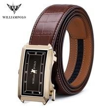 WilliamPolo 전체 곡물 가죽 브랜드 벨트 남자 남자에 대 한 최고 품질 정품 럭셔리 가죽 벨트 스트랩 남성 금속 자동 버클