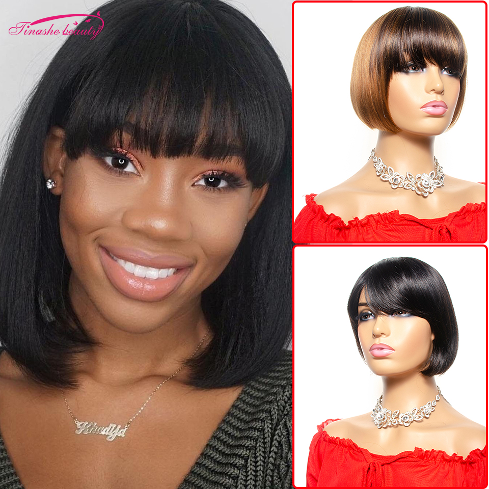 Pixie Short Cut Bob Wig With Bangs Brazilian Straight Human Hair Wigs Remy Hair Full Wigs With Front Bang Tinashe Beauty Hair
