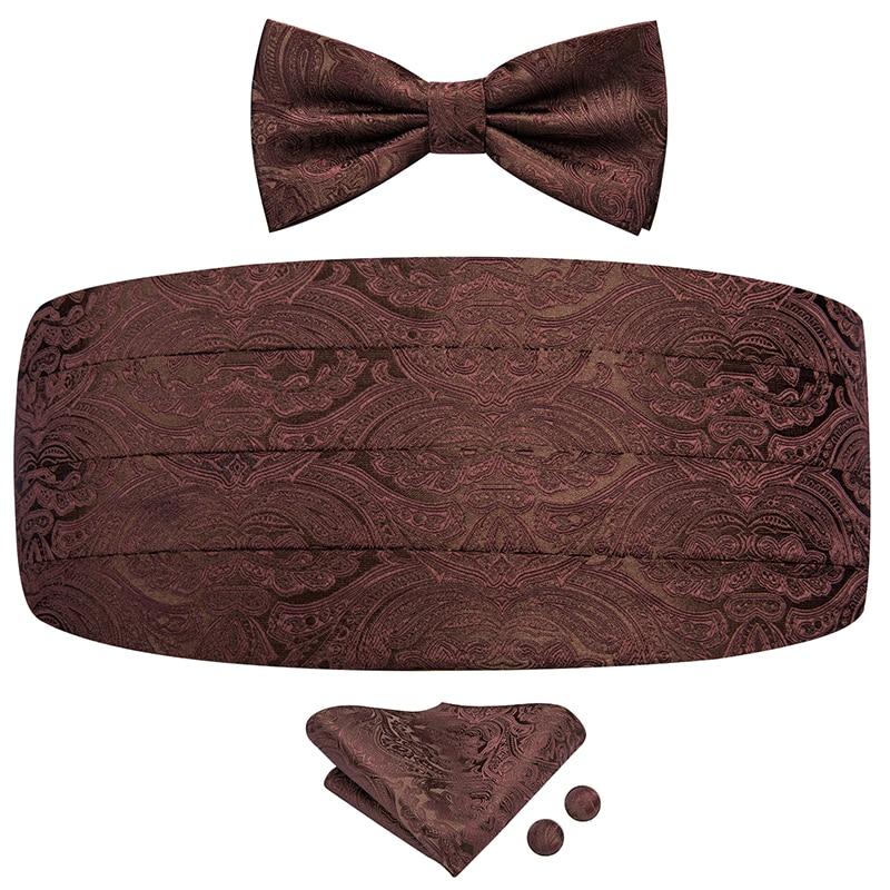 YF-2020 Hi-Tie Luxury Silk Cummerbunds For Men Fashion Brown Floral Men's Adjustable Pleated Tuxedo Cummerbunds Elastic Belt