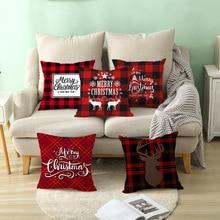 Рождественское украшение, чехол для подушки с надписью, красный узор, чехол для подушки с геометрическим рисунком, Рождественское украшение для гостиной, чехол для подушки