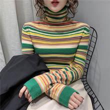 Новинка Осень зима 2020 свитер в полоску с воротником хомутом