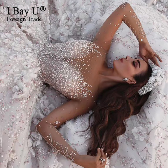 Stunning Crysal Luxury Ivory Long Sleeves Wedding Dresses 2020 Full Beading 3D Flowers Sequined Bridal Gown