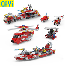 CAYI 639pcs Combined Deformation sets LegOINGs City Fire Fighting Car Boat Helicopter Airplane Building Blocks Educational Gifts недорого