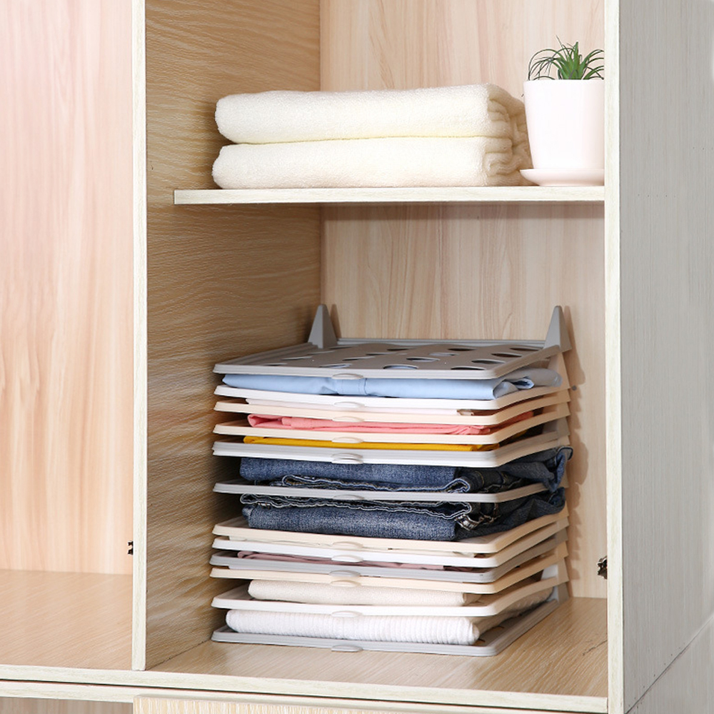 Folding Board Clothes Organizer Storage-Rack Wardrobes T-Shirt Plastic Easy-Tray 1/5/10pcs title=