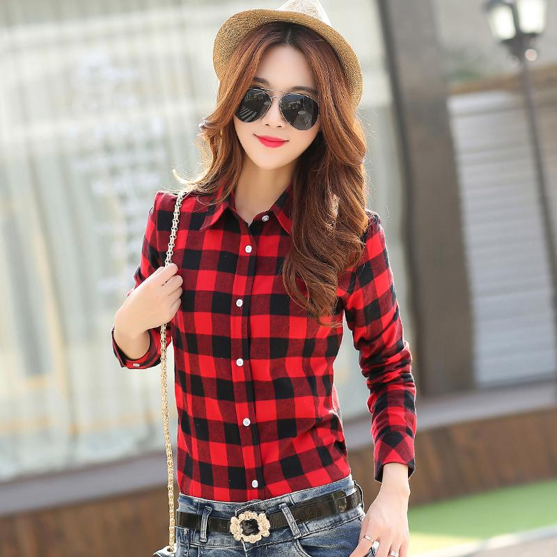2019 New Brand Women   Blouses   Long Sleeve   Shirts   Cotton Red and Black Flannel Plaid   Shirt   Casual Female Plus Size   Blouse   Tops
