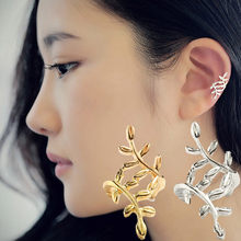 Luxury Leaf Earrings Clip Women's Punk Silver Crystal Leaf Ear Cuff Cartilage Wrap Clip On Earring Stud Nightclub Party Jewelry(China)