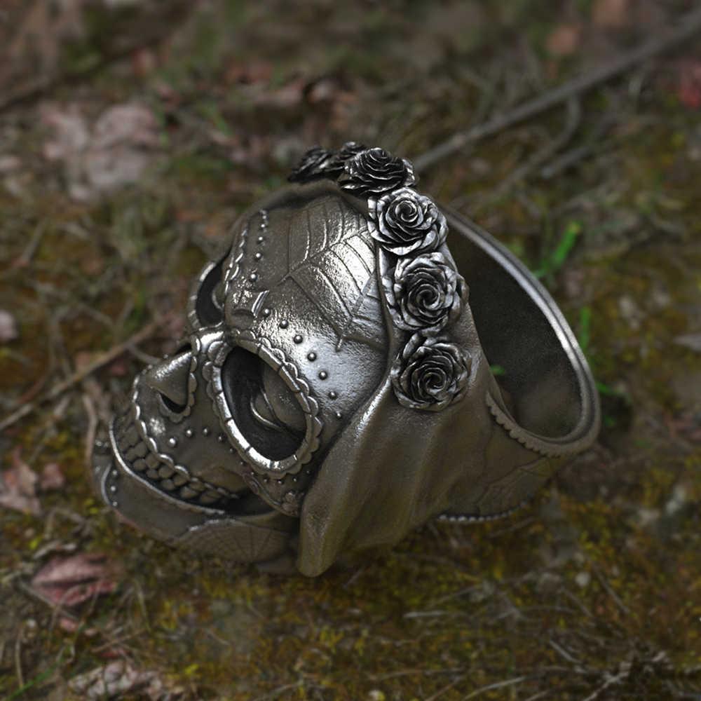 Goth Santa Muerte Del Cranio Dello Zucchero Anello di Rosa Corona di Fiori 316L Anelli In Acciaio Inox Delle Donne Punk Gotico Dei Monili Regalo Unico