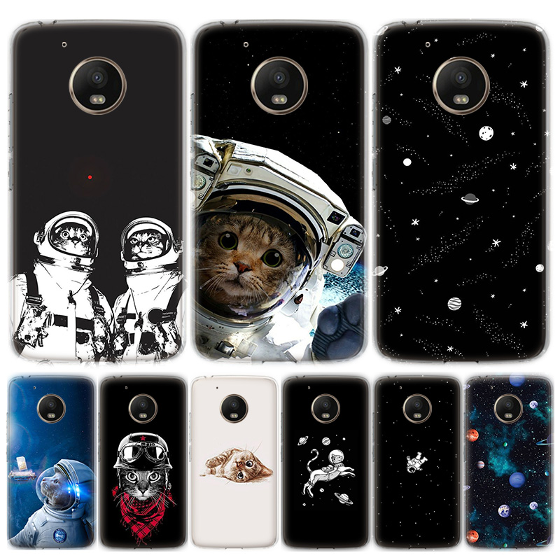 Space Love Moon Astronaut Cat Phone Case For MOTO Motorola G8 E4 E5 E6 G7 G6 G5S Plus Play Power ONE Action Cover Coque Soft Sil